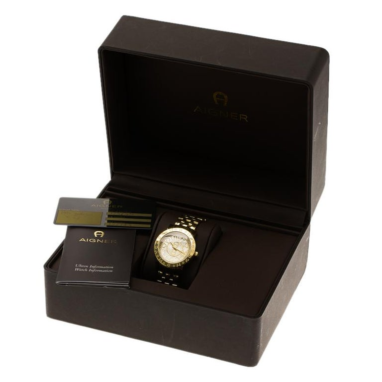 Aigner Champagne Gold Plated Stainless Steel A26337 Women's Wristwatch 36MM For Sale 2