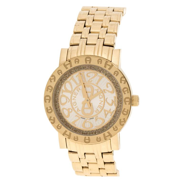 Aigner Champagne Gold Plated Stainless Steel A26337 Women's Wristwatch 36MM For Sale