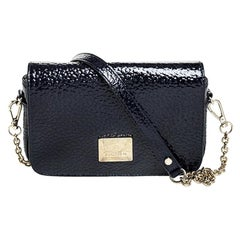 Aigner Dark Blue Patent Leather Flap Shoulder Bag