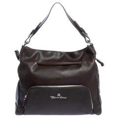 Aigner Dark Brown Leather Drawstring Front Pocket Top Handle Bag