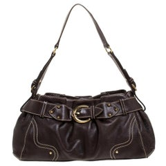 Aigner Dark Brown Leather Shoulder Bag