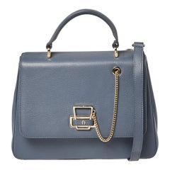 Aigner Dark Grey Leather Flap Isabella Top Handle Bag
