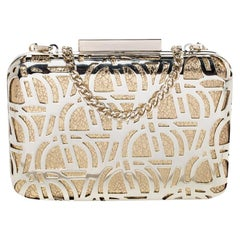 Aigner Gold Metal Tesora Clutch On Chain