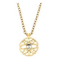 Aigner Gold Plated Crystal Embellished Circular Pendant Necklace