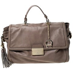 Aigner Light Brown Leather Top Handle Bag