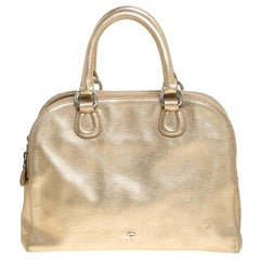 Aigner Metallic Gold Leather Satchel