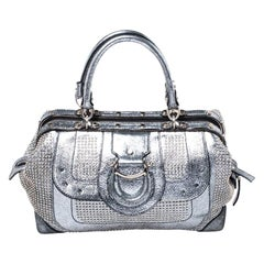 Aigner Metallic Silver Faux Leather Studded Satchel