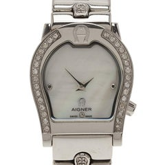 Aigner Mother Of Pearl Diamond Stainless Steel Verona A01200 Womens Wristwatch