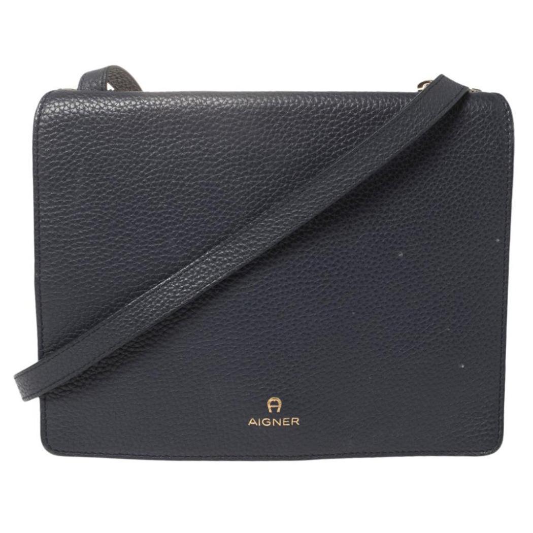 Aigner Navy Blue Leather Flap Crossbody Bag