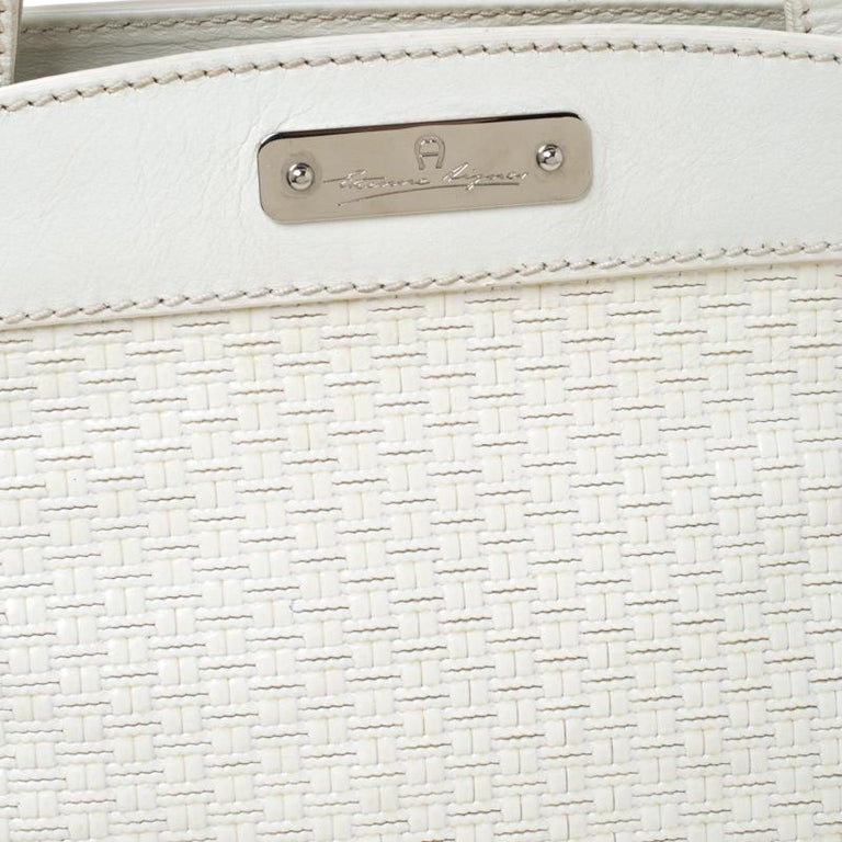 Aigner Off-white Leather Satchel 5