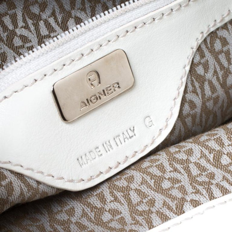 Women's Aigner Off-white Leather Satchel