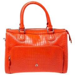 Aigner Orange Croc Embossed Leather Front Pocket Zip Shoulder Bag