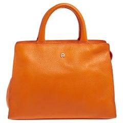 Aigner Orange Grained Leather Cybill Tote