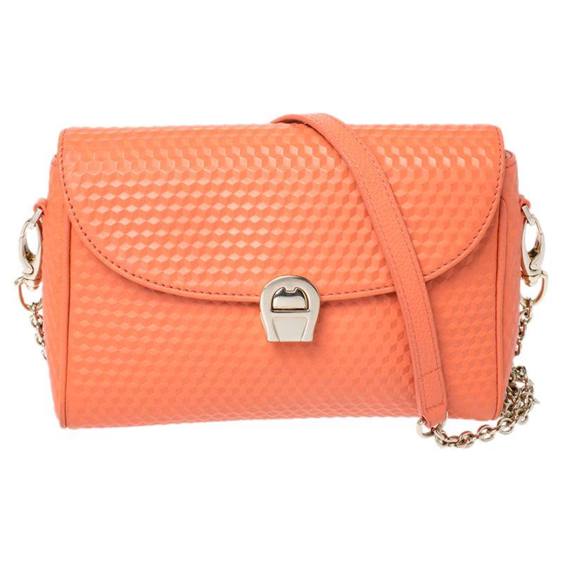 Aigner Orange Leather Genoveva Pochette Crossbody Bag