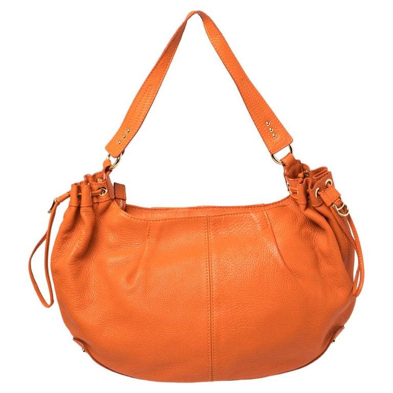 Women's Aigner Orange Leather Logo Drawstring Hobo For Sale