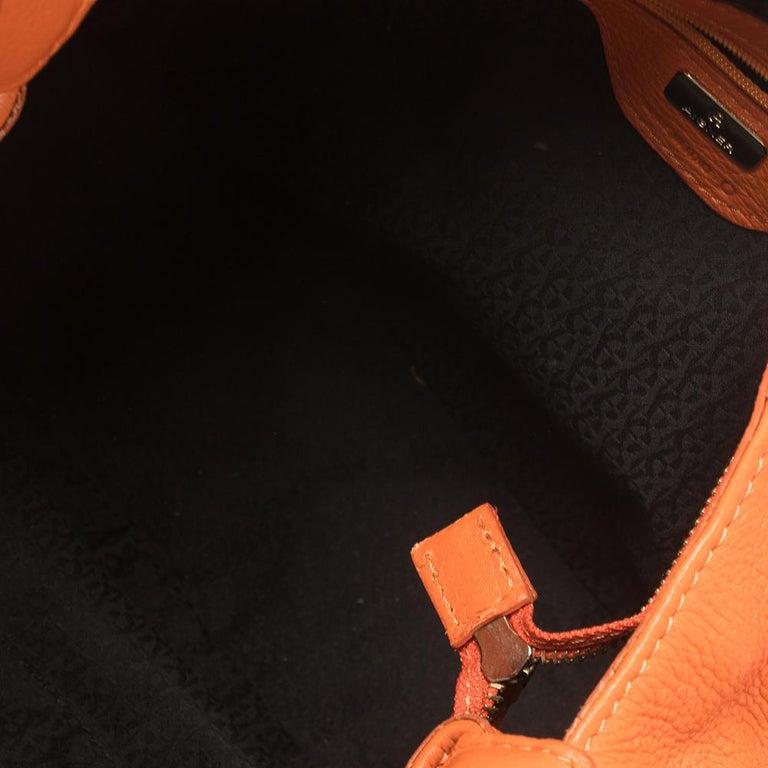 Aigner Orange Leather Logo Drawstring Hobo For Sale 1