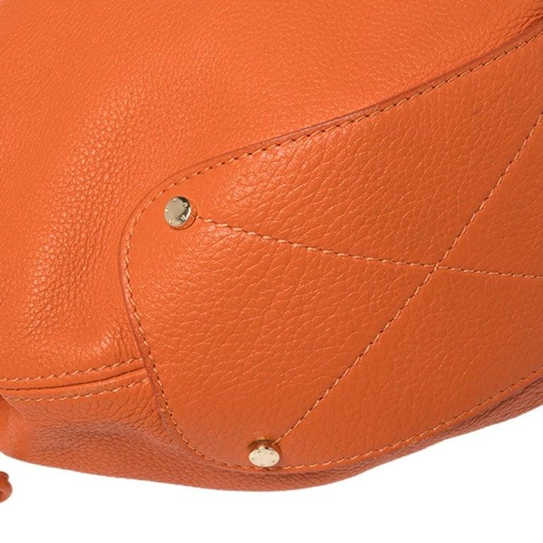 Aigner Orange Leather Logo Drawstring Hobo For Sale 2