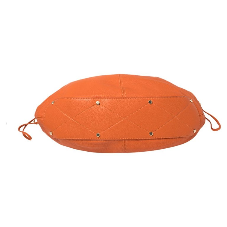 Aigner Orange Leather Logo Drawstring Hobo For Sale 3