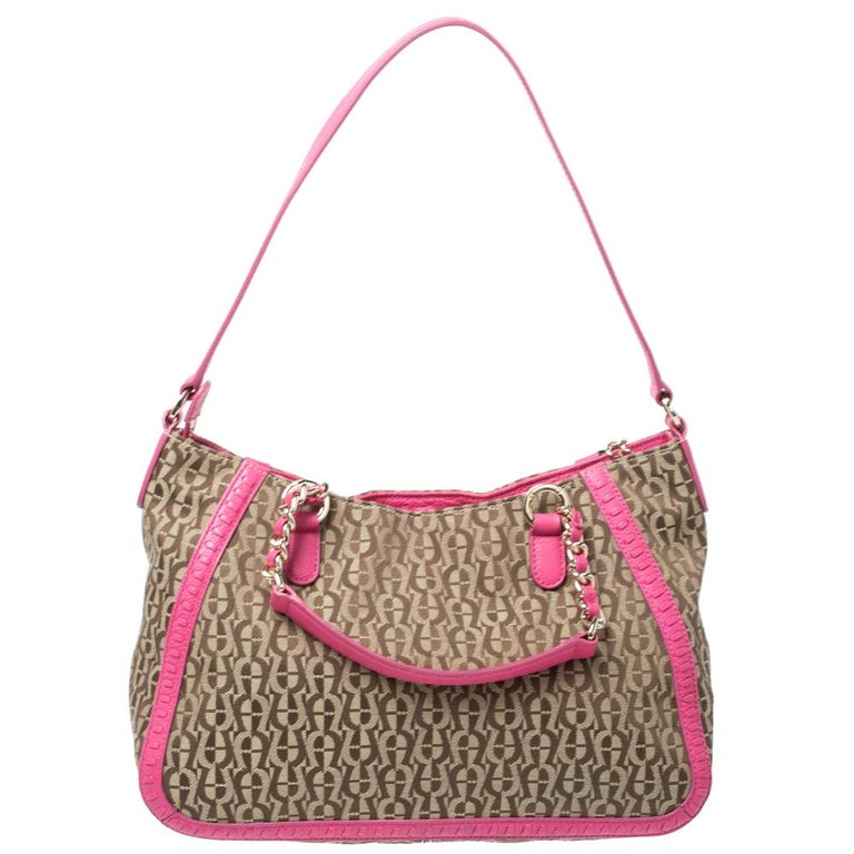 Aigner Pink Beige Signature Canvas And