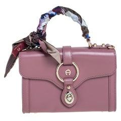 Aigner Pink Leather Mini Fiorentina Top Handle Bag