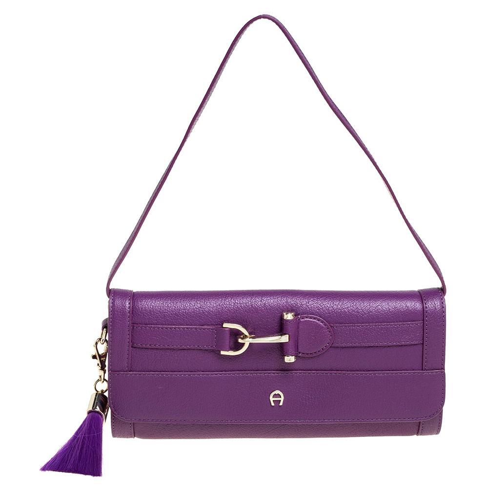 Aigner Purple Leather Cavallina Flap Shoulder Bag