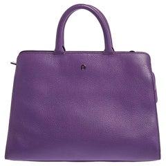 Aigner Purple Leather Cybill Tote