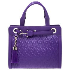 Aigner Purple Logo Embossed Leather Cavallina Tote