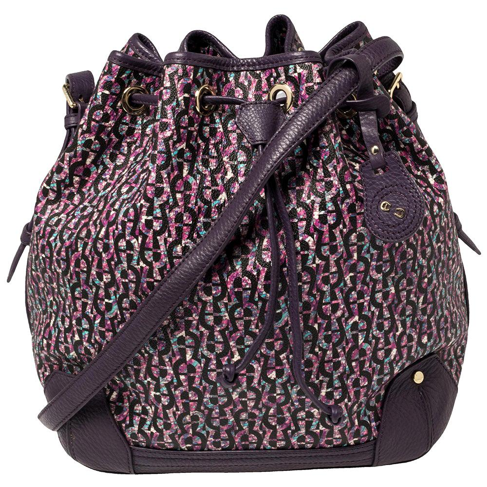 Aigner Purple Signature Coated Canvas and Leather Drawstring Shoulder Bag