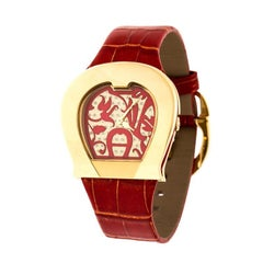 Aigner Red Gold Plated Stainless Steel L'Aquila A41200 Women's Wristwatch 36 mm