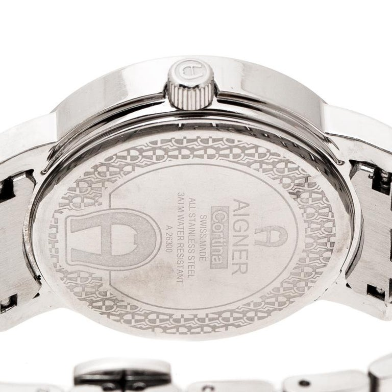 Aigner Silver Stainless Steel Cortina A26300 Women's Wristwatch 35 mm For Sale 2