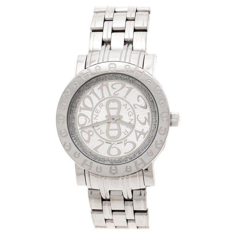 Aigner Silver Stainless Steel Cortina A26300 Women's Wristwatch 35 mm For Sale