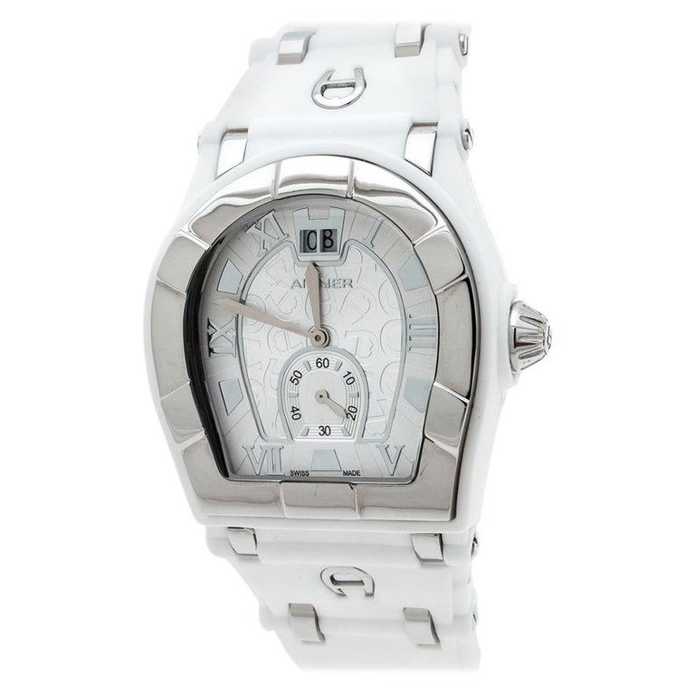 Aigner Silver Stainless Steel Rubber Alba A49200 Women's Wristwatch 36 mm For Sale