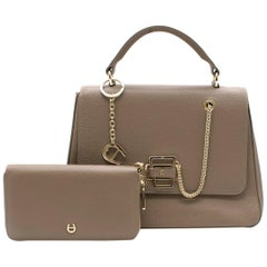 Aigner Tan Leather Top handle Bag with Wallet