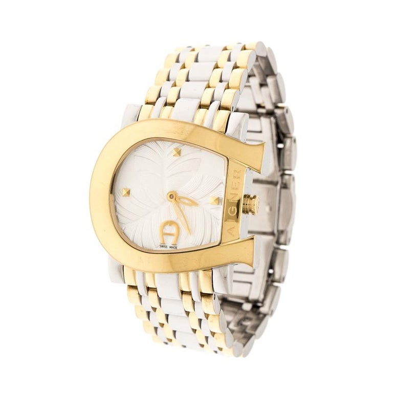 Contemporary Aigner White Leaves Two-Tone  Genua Due A31600 Women's Wristwatch 31 mm For Sale