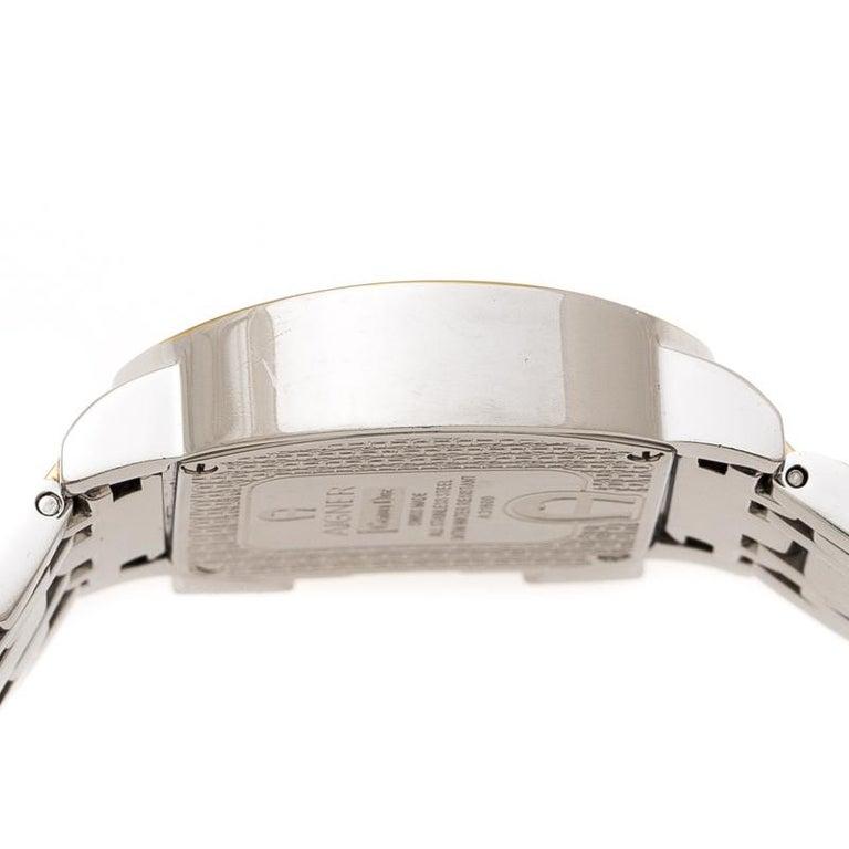 Aigner White Leaves Two-Tone  Genua Due A31600 Women's Wristwatch 31 mm In Good Condition For Sale In Dubai, Al Qouz 2