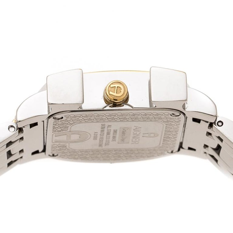 Aigner White Leaves Two-Tone  Genua Due A31600 Women's Wristwatch 31 mm For Sale 1