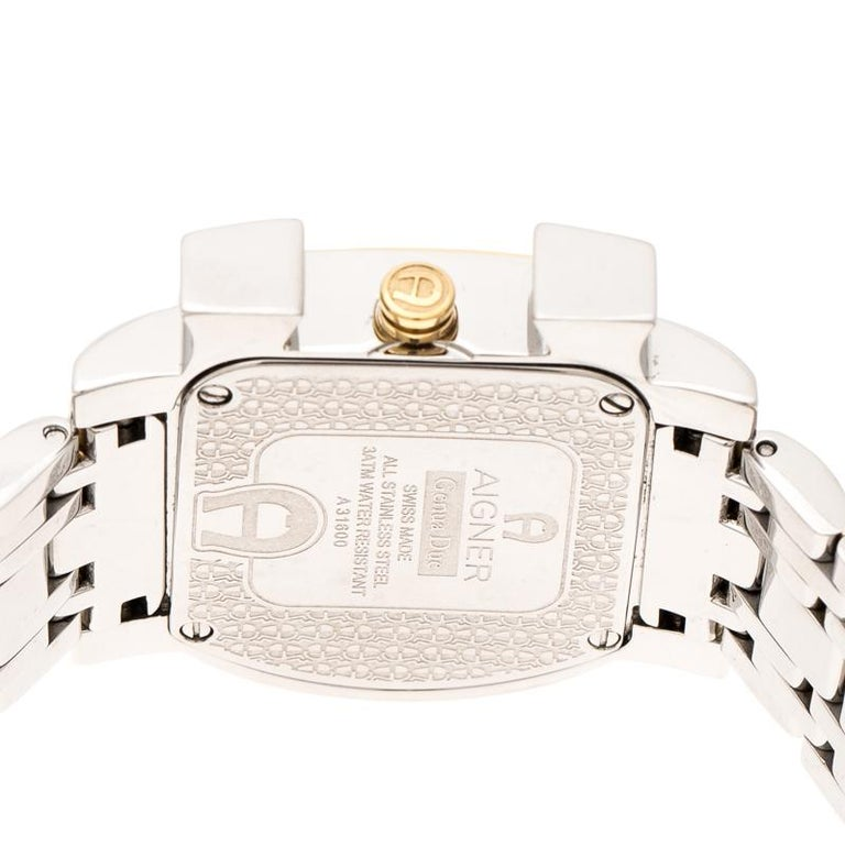 Aigner White Leaves Two-Tone  Genua Due A31600 Women's Wristwatch 31 mm For Sale 2