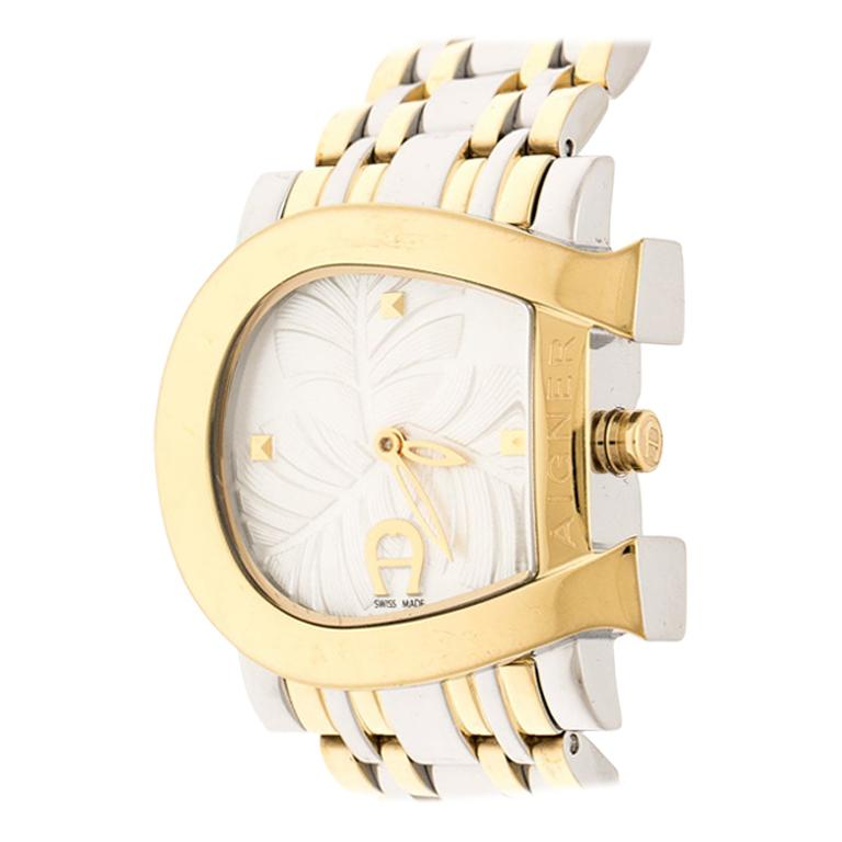 Aigner White Leaves Two-Tone  Genua Due A31600 Women's Wristwatch 31 mm For Sale
