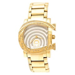 Aigner White Mother of Pearl Gold Plated   Due A31600 Women's Wristwatch 31 mm
