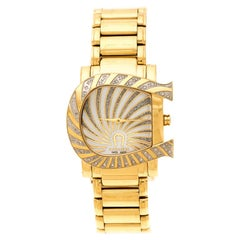 Aigner White Mother of Pearl Gold Plated Stainless Steel  Wristwatch 31 mm