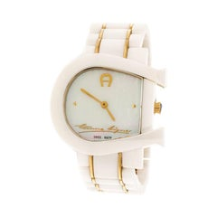 Aigner White Mother of Pearl Two Tone Stainless Steel Ceramic  Wristwatch 33 mm
