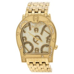 Aigner Yellow Mother of Pearl Gold Plated Steel Ravenna Women's Wristwatch 33 mm