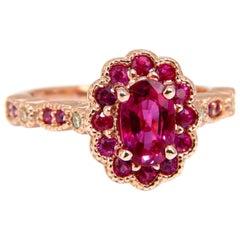 AIGS Certified 1.00 Carat Natural Red No Heat Ruby Diamonds Ring 14 Karat