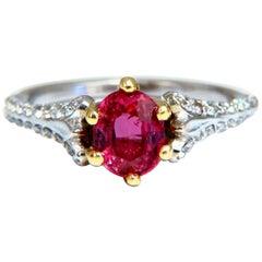 AIGS Certified 1.07 Carat Natural Pink No Heat Ruby Diamonds Ring 14 Karat