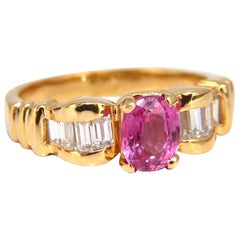 AIGS Certified 1.65 Carat Natural No Heat Pink Sapphire Diamonds Ring Unheated