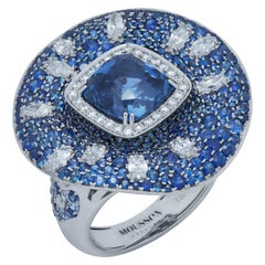 AIGS Certified 6.14 Carat Sapphire Diamonds 18 Karat White Gold Ring