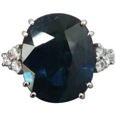 Aigs Certified 9 Carat Natural Sapphire Diamond Ring