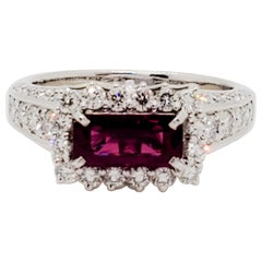 AIGS Certified Estate Burma Ruby Octagon and White Diamond Cocktail Ring