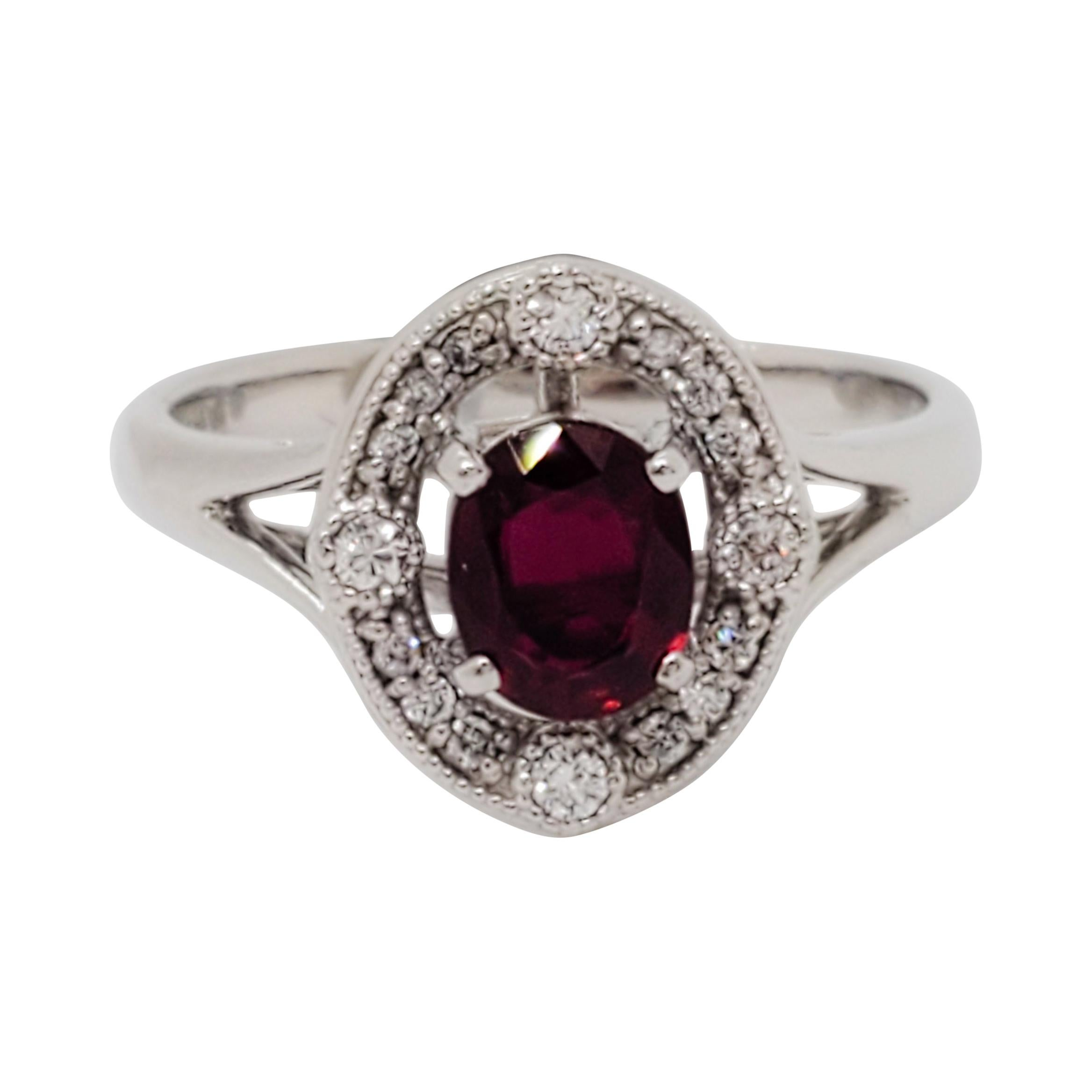 AIGs Certified Pigeon's Blood Ruby Oval and White Diamond Cocktail Ring