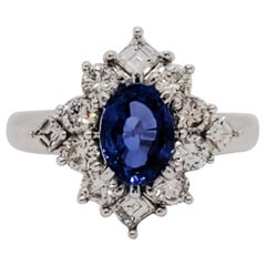 AIGS Unheated Burma Cornflower Blue Sapphire Oval and White Diamond Ring